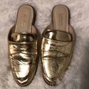 Catherine Malandrino Tuxedo Metallic Gold Mules